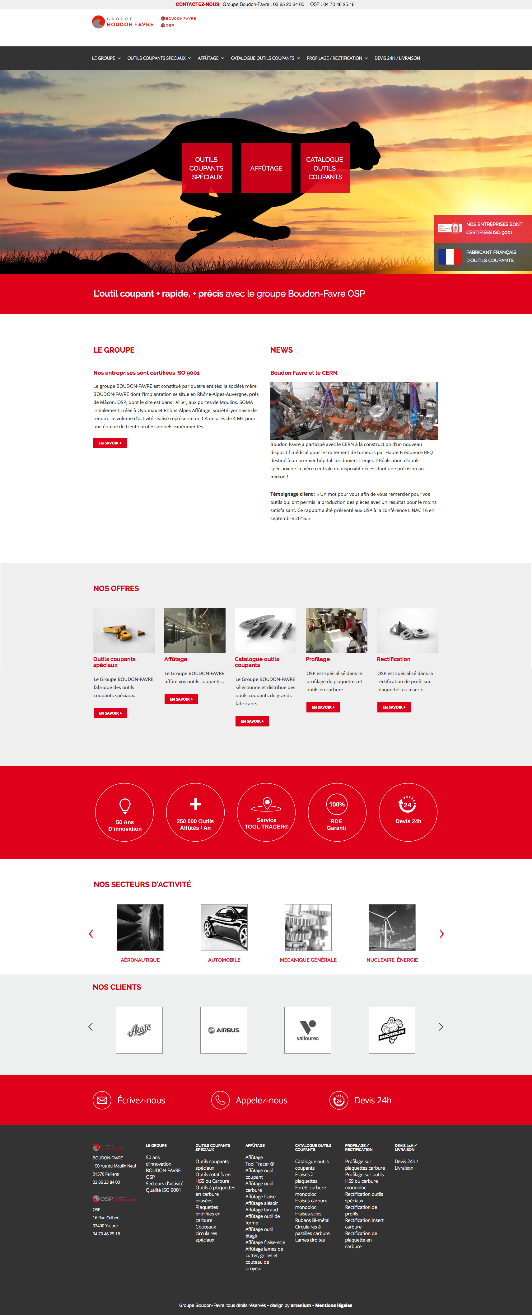 cr ation du site web du groupe industriel boudon favre artenium. Black Bedroom Furniture Sets. Home Design Ideas